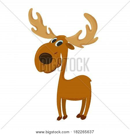 illustration of cute cartoon moose with big horns
