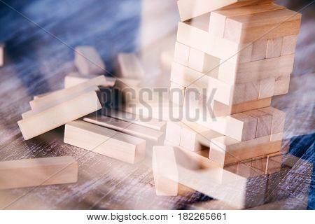 Wood blocks stack game, background concept