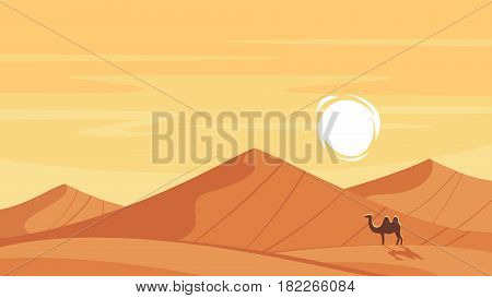 Vector cartoon style background with hot desert landscape.