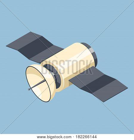 Communications satellite icon isolated on blue. Isometric vector illustration