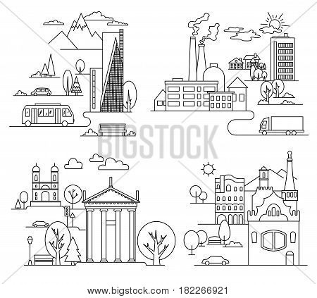city landscapes line vector illustration with skyscrapers, towers and trees. Vector linear illustration.