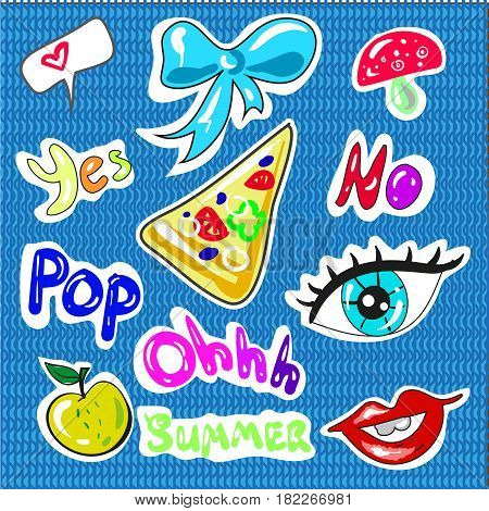 Hand drawn vector set of Cartoon badges, cute doodles stickers. fashion