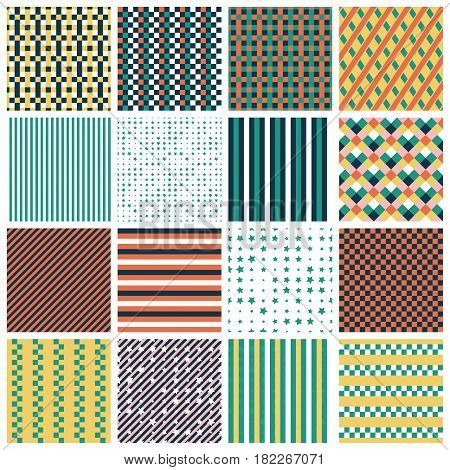 Collection of 16 cute seamless patterns with stripes stars bricks. Geo seamless pattern with green orange and gold. Useful for fabric print wrapping paper scrap booking web design