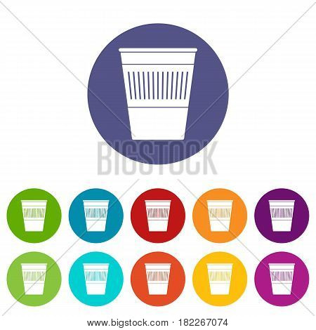 Trash can with pedal icons set in circle isolated flat vector illustration