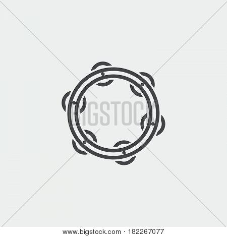 tambourine icon isolated on grey background .