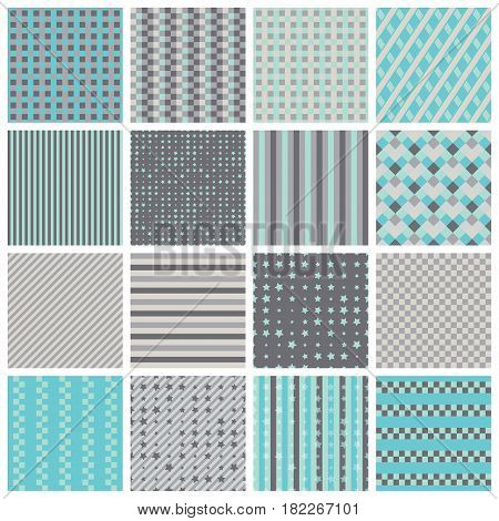 Collection of 16 cute seamless patterns with stripes, stars, bricks. Geo seamless pattern with blue and grey. Useful for  fabric print, wrapping paper, scrap booking, web design