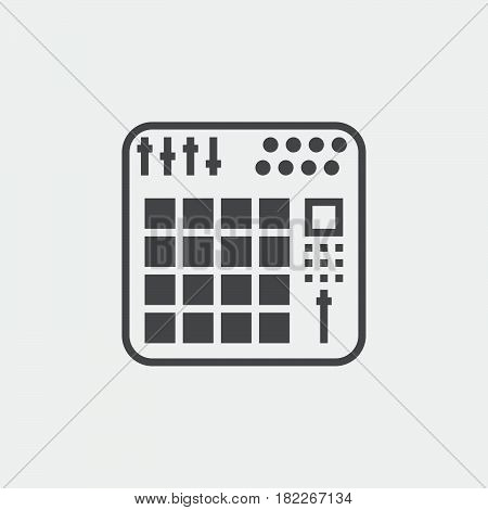 midi controller icon isolated on grey background