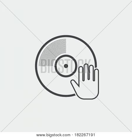 dj icon isolated on grey background .