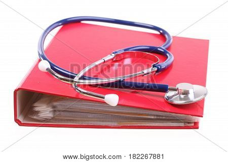 Blue stethoscope healthcare instrument isolated on white red file folder binder