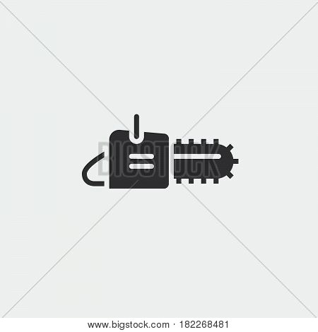 Chainsaw icon isolated on grey background .