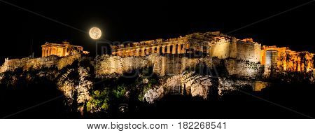 Acropolis Of Athens, Greece At A Full Moon Night