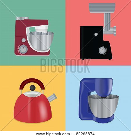Set of Kitchen appliances. Electric mixer, meat mincer, food processor, kettle. Vector Illustration EPS10