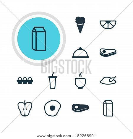Vector Illustration Of 12 Dish Icons. Editable Pack Of Bowl, Lime, Scrambled Egg And Other Elements.