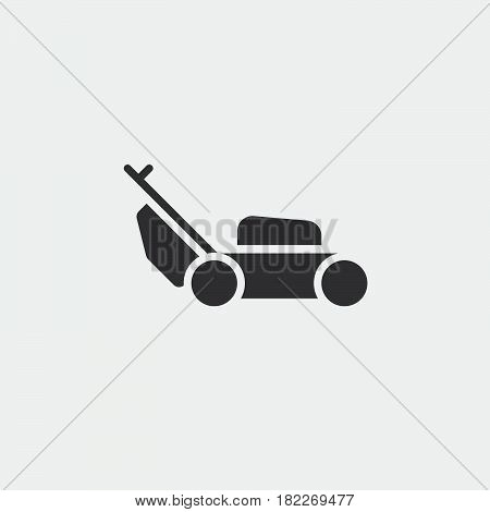 lawn mower icon isolated on grey background