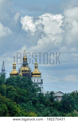 Tyumen, Russia - August 19, 2006: Holy Trinity Monastery. Church of Saints Peter and Paul and Holy Trinity Cathedral