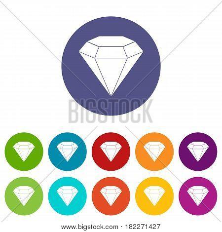 Diamond gemstone icons set in circle isolated flat vector illustration