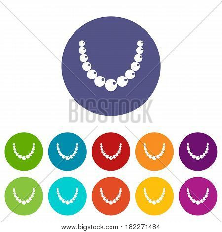 Brilliant gemstone icons set in circle isolated flat vector illustration