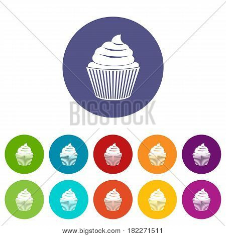 Small candy icons set in circle isolated flat vector illustration