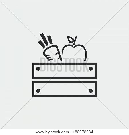 Icon of apples in wooden crate.harvest icon.