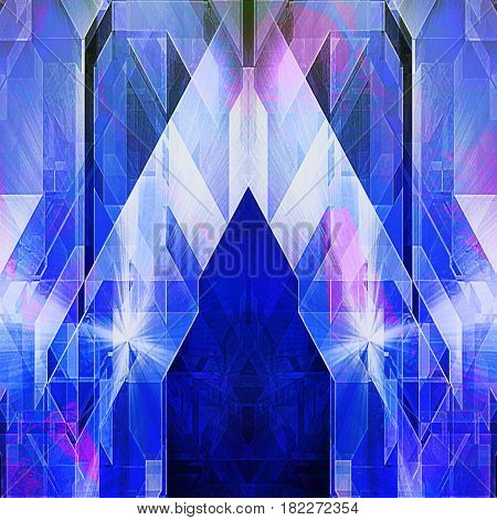Abstract futuristic background of triangles and polygons resembling modern architecture. Blue, pink and white stylized modern building with light reflections. 3d illustration