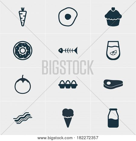 Vector Illustration Of 12 Eating Icons. Editable Pack Of Juice, Veggie, Cruet And Other Elements.