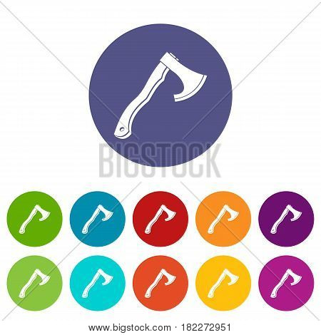 Big ax icons set in circle isolated flat vector illustration