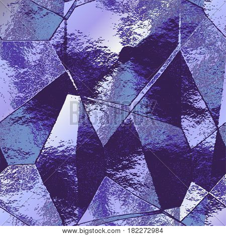 Abstract polygonal brushed background resembling folded metal foil. Blue and silver wrinkled cracked pattern