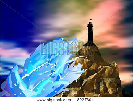 Landscape with silhouette of lighthouse, sea waves and dramatic sky. Seascape at sunset with cracked rock