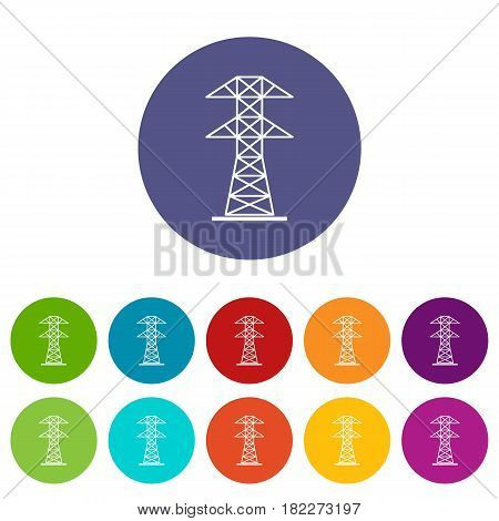 High voltage tower icons set in circle isolated flat vector illustration