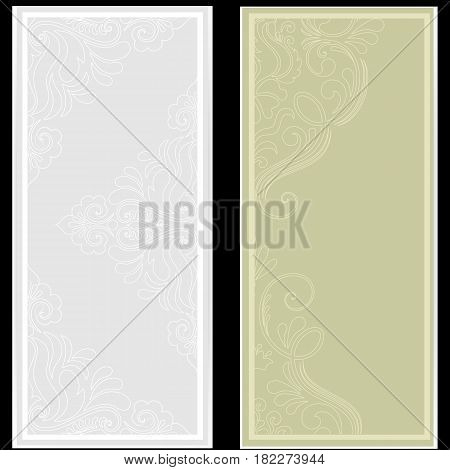 Wedding invitation and announcement card with floral background artwork. Elegant ornate floral background. Floral background and elegant flower elements. Design template.