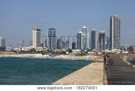 TEL-AVIV, ISRAEL - AUGUST 27, 2015: Beautiful panoramic view from waterfront of Tel Aviv-Yafo and Mediterranean sea, Tel Aviv, Israel.