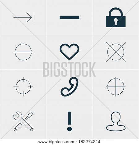 Vector Illustration Of 12 Interface Icons. Editable Pack Of Alert, Minus, Man Member And Other Elements.