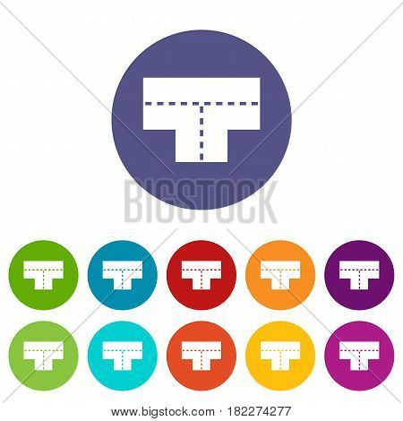 Road junction icons set in circle isolated flat vector illustration