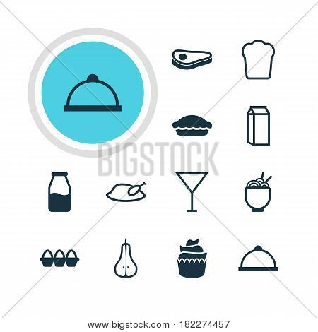 Vector Illustration Of 12 Meal Icons. Editable Pack Of Egg Container, Dessert, Milk And Other Elements.