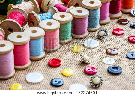 threads and buttons (many different color and form)