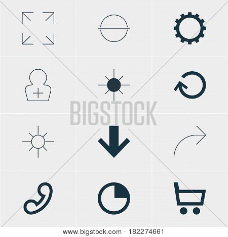 Vector Illustration Of 12 Member Icons. Editable Pack Of Cogwheel, Downward, Sunshine And Other Elements.