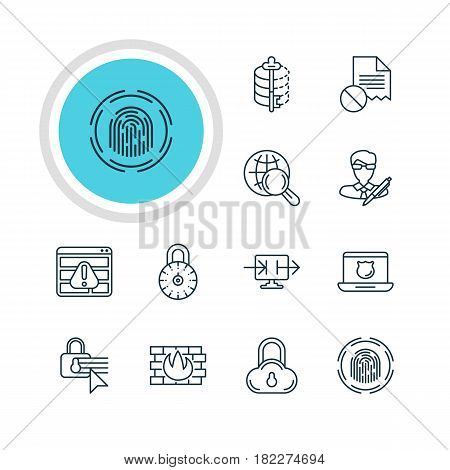 Vector Illustration Of 12 Privacy Icons. Editable Pack Of Safe Lock, Copyright, Encoder And Other Elements.