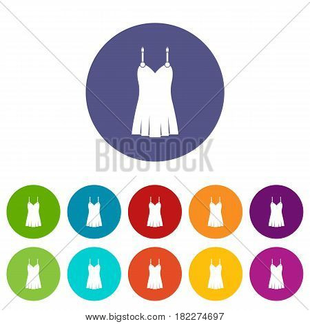 Nightdress icons set in circle isolated flat vector illustration