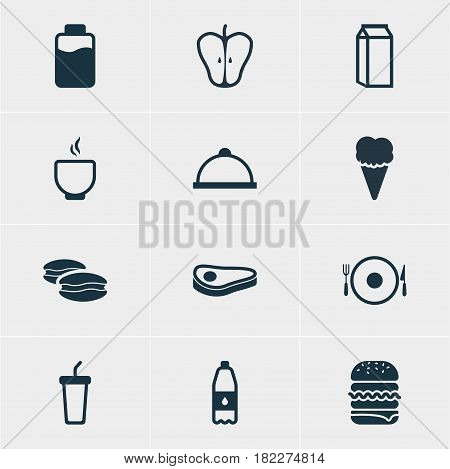 Vector Illustration Of 12 Meal Icons. Editable Pack Of Platter, Sandwich, Bowl Elements.