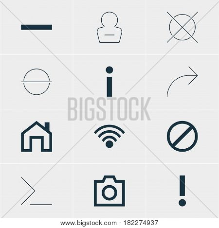 Vector Illustration Of 12 Interface Icons. Editable Pack Of Share, Info, Cordless Connection And Other Elements.