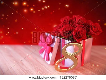 birthday concept with red roses in gift on wooden desk. 3D render - eighth birthday. 8th