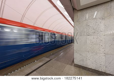 MOSCOW/ RUSSIA - MARCH 11, 2017. Metro station Dostoevskaya in the center of Moscow, Russia