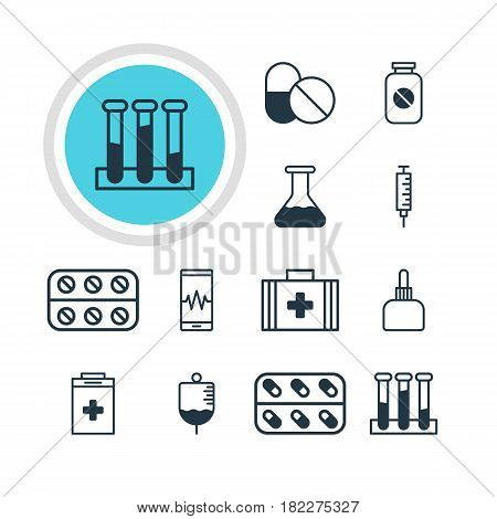Vector Illustration Of 12 Medicine Icons. Editable Pack Of Experiment Flask, Pills, Aspirin And Other Elements.