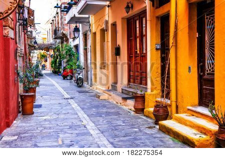 Charming colorful streets of old town in Rethymno, Crete island, Greece