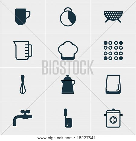 Vector Illustration Of 12 Cooking Icons. Editable Pack Of Sieve, Butcher Knife, Chef Hat And Other Elements.