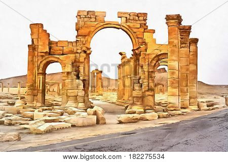 Colorful painting of ruins of ancient hellenistic temple, Palmyra, Syria