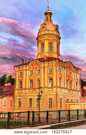 Colorful painting of church in Alexander Nevsky Lavra, Saint Petersburg, Russia