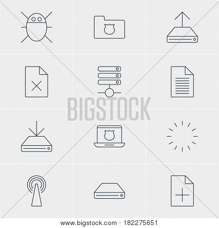 Vector Illustration Of 12 Web Icons. Editable Pack Of Hdd Sync, Secure Laptop, Note And Other Elements.
