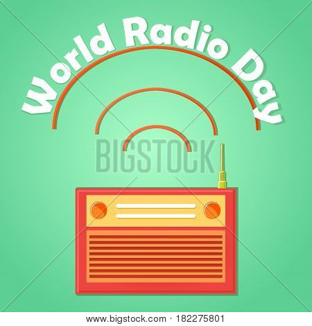 Web banner to the world radio day. Isolated on an gradient background radio receiver icon with an antenna and conditional radio waves. Retro. Vector Illustration.