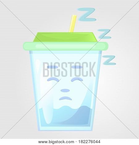A glass of juice with a lid and a tube. Summer drink. Emotional icon asleep tired sleepy. Water in the cartoon style. Vector illustration isolated on a gray background.